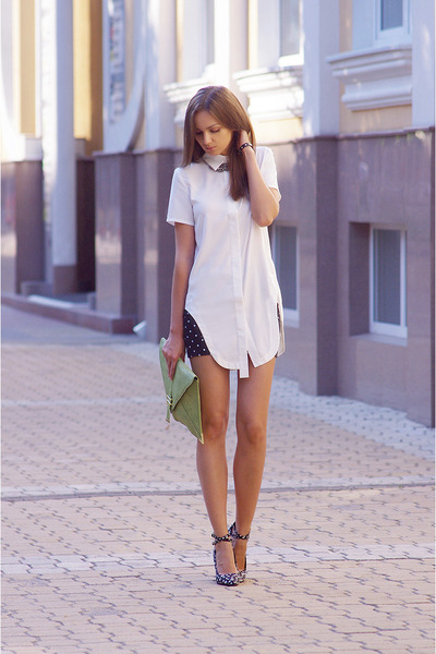 white romwe shirt - black asos shoes - chartreuse asos bag