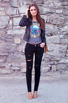 black Sheinside jacket - nude OASAP bag - camel Zara heels - black DIY pants