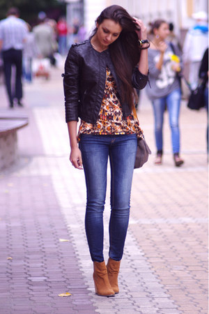burnt orange asos boots - brown Zara jacket - heather gray Topshop bag