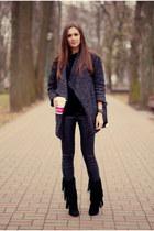 heather gray OASAP coat - black nowIStyle sweater