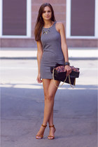 heather gray H&M dress - black VJ-style bag - tawny Stradivarius heels