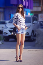 black Zara heels - white asos shirt - black VJ-style bag - blue Mango shorts