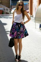 blue unknown skirt - cream New Yorker top - black Zara sandals