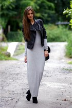 heather gray Object dress - black Zara jacket