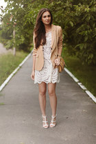 white asos heels - ivory Sheinside dress - camel OASAP bag