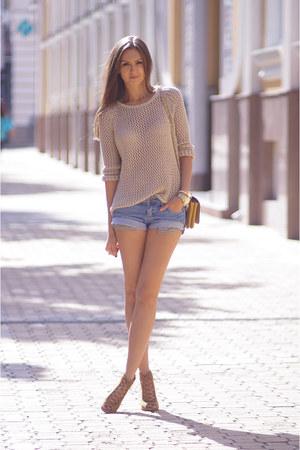 beige Topshop jumper - tan Zara boots - tan OASAP bag - blue Mango shorts