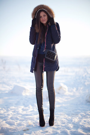 black OASAP boots - navy Sheinside coat - black asos bag - black H&amp;M pants
