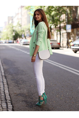 lime green cotton New Yorker blazer - white Stradivarius jeans - white H&M bag
