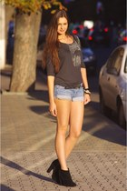 new look boots - blue Mango shorts - black Zara top