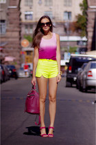 bubble gum romwe top - ruby red VJ-style bag - yellow romwe shorts