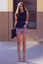tan pull&bear shorts - tan asos bag - tan asos heels - black peplum Love top