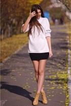 camel asos boots - ivory Topshop sweater - black H&M skirt