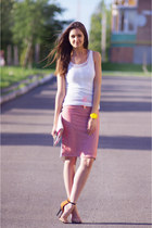 light orange OASAP skirt - off white DIY top