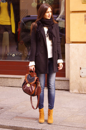 burnt orange asos boots - black H&amp;M coat - brown Newlook bag