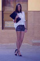 silver Jovonna shorts - off white Glamorous shirt - black asos bag