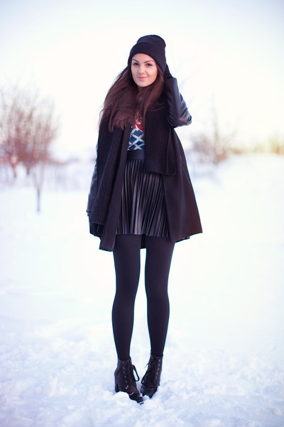 turquoise blue cotton Glamorous sweater - black lace up boots romwe boots