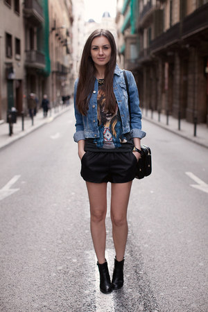 light blue pull&amp;bear jacket - black asos boots - black Zara shorts