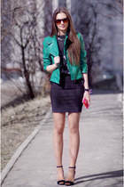 teal Zara jacket - black Zara sandals