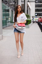 white H&M t-shirt - red Zara bag - blue denim shorts Imomoi shorts