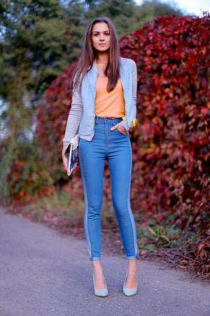 light blue pull&bear jacket - sky blue romwe jeans - white Bershka bag
