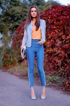 light blue pull&bear jacket - sky blue romwe jeans - white Bershka bag