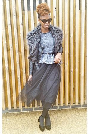periwinkle peplum Missguided top - tulle Boohoo skirt