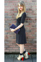 gold boutique boots - black polka dot wrap warehouse dress