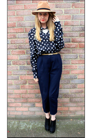 bespoke fedora St Saviours hat - polka dots vintage blouse - cropped M&S pants