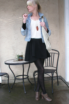 brown seychelles boots - black DKNY tights - blue Old Navy jacket - orange acces