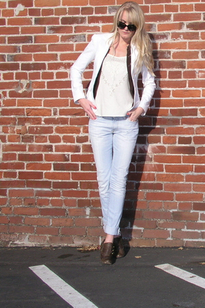 Theory blazer - sweater - Forever 21 top - 7 for all mankind jeans - seychelles