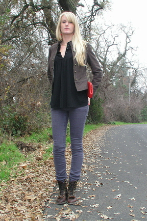 red vintage purse - brown vintage boots - purple lulus jeans - brown H&M jacket