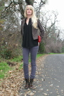 Brown-boots-purple-jeans-black-top-brown-h-m-jacket-red-purse-red-acce