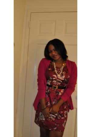 Charlotte Russe dress - Charter Club cardigan - Charlotte Russe belt - Anthropol