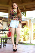 denim pinkaholic shorts - floral print pinkaholic blouse