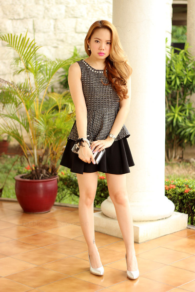 tweed peplum Plush clothing top