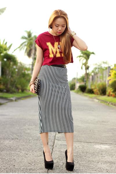 pencil striped Plush clothing skirt - varsity pinkaholic top
