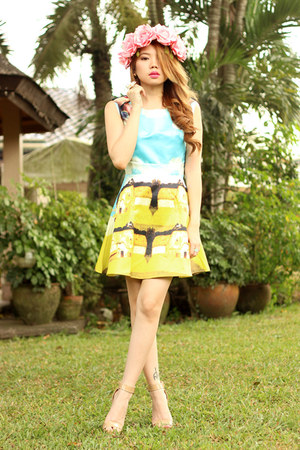 painting dress romwe dress - flower crown Flaura Tiara hair accessory