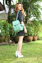 polka dots Sheinside dress - mint backpack romwe bag