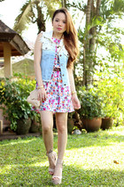 denim vest pinkaholic vest - floral dress Tailored & Fit dress