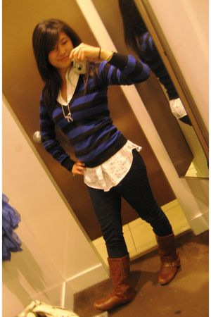 blue Forever 21 sweater - white Forever 21 shirt - blue Forever 21 jeans - brown