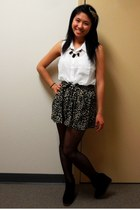 dark brown Local Boutique skirt - shoemint boots - white Forever 21 blouse