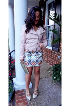 neutral sequin tribal lovemarks skirt - nude studded strap Tobi pumps