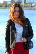 crimson leather H&M jacket - white Zara top