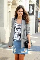 white asos top - heather gray asos blazer - blue asos skirt