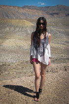 planet blue top - planet blue shorts - christian dior sunglasses - Guess sandals