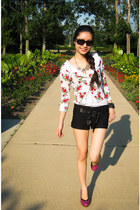 Forever 21 sweater - christian dior sunglasses - hollister top - Steve Madden he
