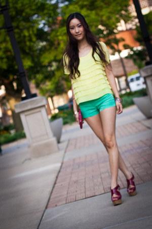 lime-green H&M shorts - fuschia Steve Madden wedges - H&M blouse - pink Urban Ou