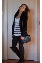 Forever 21 shirt - Steve Madden boots - Zara leggings - BCBG purse
