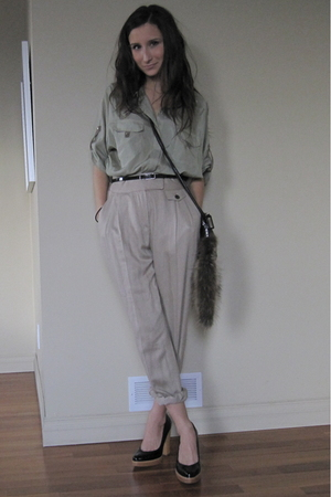 Zara pants - Zara blouse - H&M  DIY fur tail purse - Michael Kors shoes