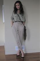 Zara pants - Zara blouse - H&M  DIY fur tail purse - Michael Kors shoes